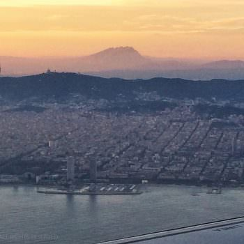 View from the plane of Barcelona at sunset