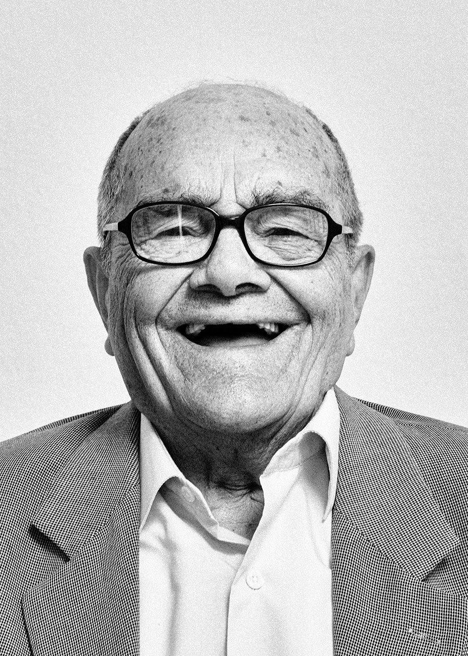 Portrait of a 90 years old man full of youth